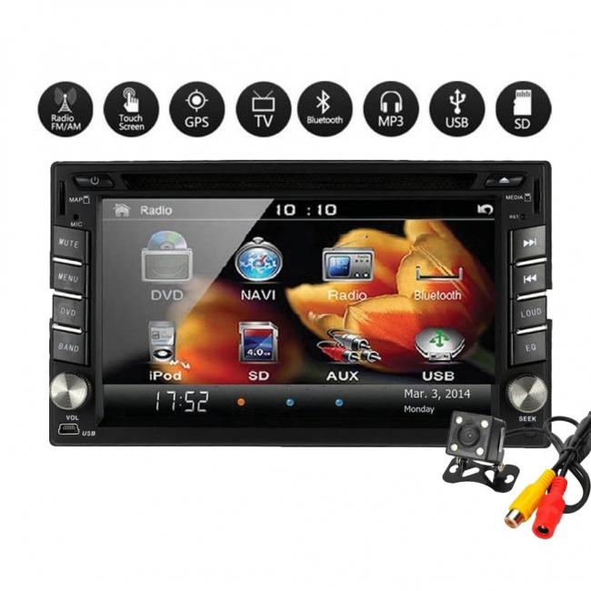 Универсална мултимедия двоен дин 6516 DVD, GPS, TV , 6.2 инча + КАМЕРА ЗА ПАРКИРАНЕ