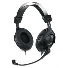 Слушалки с микрофон GENIUS HS-505X Черни, кожени възглaвнички