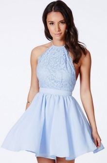 Къса рокля с гол гръб синя нов модел