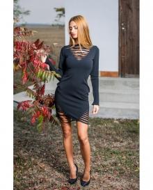 Къса нарязана рокля с дълги ръкави