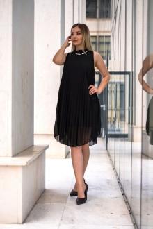 Черна официална рокля с перли
