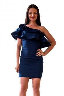 Тъмносиня къса официална рокля