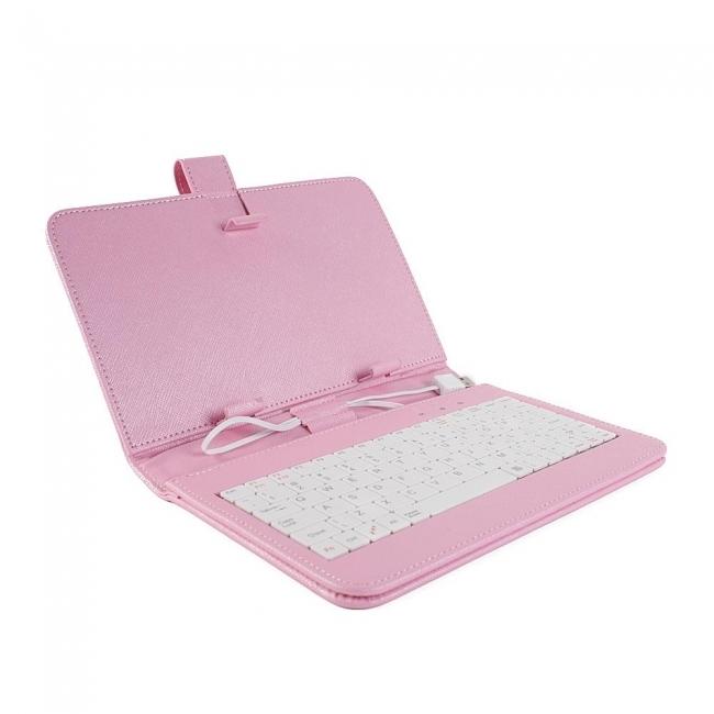 Калъф с клавиатура за таблет 8 инча - USB - РОЗОВ