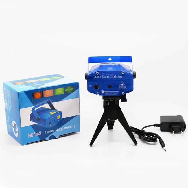 Мини дискотечен лазер с ефектни светлини на фигури и точки