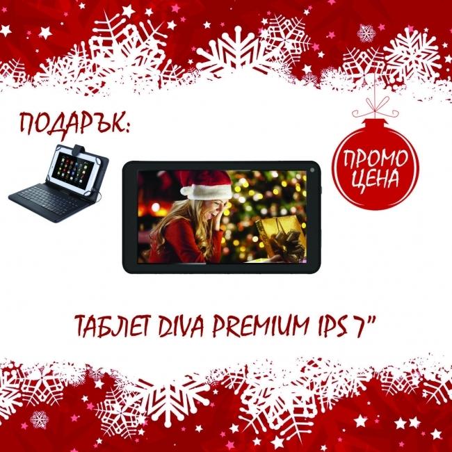 Четириядрен таблет DIVA Premium IPS 7 - 7 инча, Bluetooth + КЛАВИАТУРА БОНУС