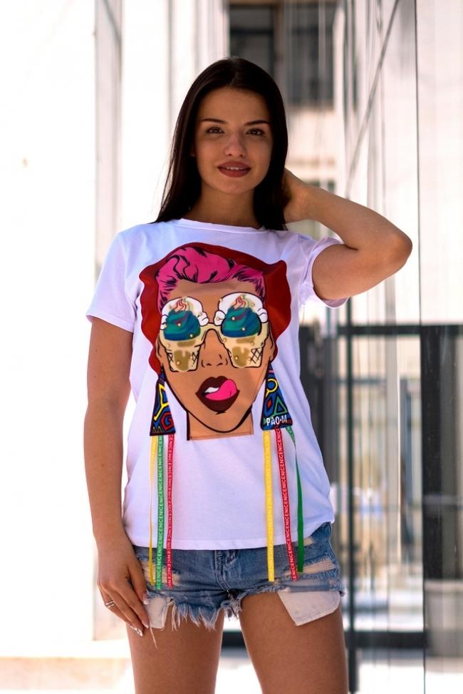 Бяла тениска с момиче - CRAZY GIRL