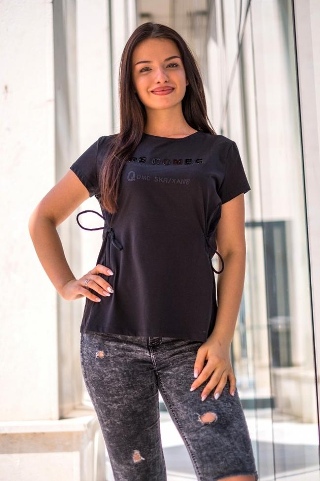 Черна тениска с връзки