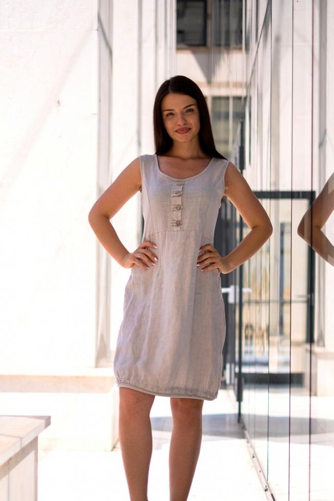 Бежова бохо рокля от лен