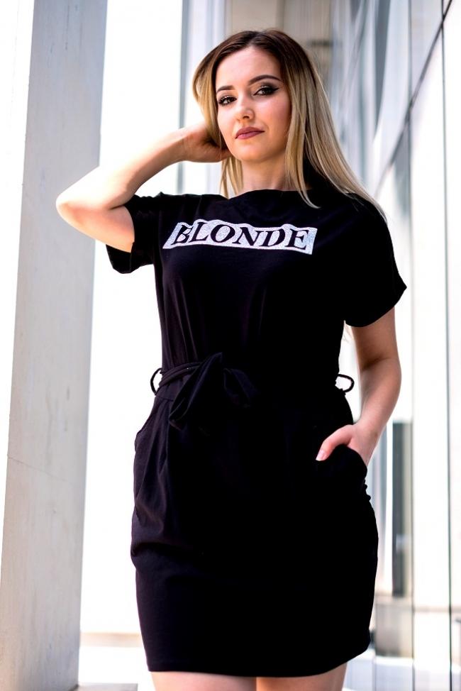 Черна спортна рокля BLONDE