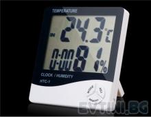 Термометър, хидрометър, часовник в едно с LCD дисплей модел HTC-1