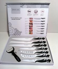 Комплект ножове от 7 ножа + белачка, с керамично покритие, антибактериални