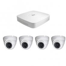 4 - канален DVR за видеонаблюдение с 4 куполни камери 1MP, връзка с интернет и 3G