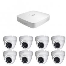 8 - канален DVR за видеонаблюдение с 8 куполни камери 1MP, връзка с интернет и 3G