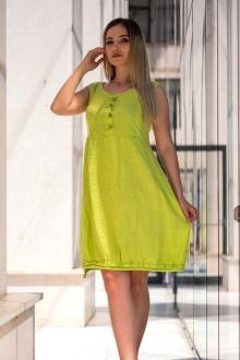 Бохо рокля в цвят лайм от лен