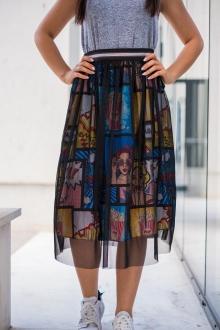 2в1 Пола и рокля с комикси и черен тюл